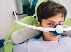 child receiving nitrous oxide sedation
