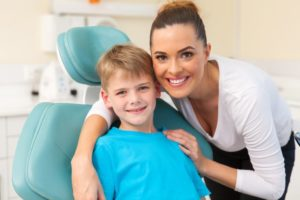 mother and child visit dentist in Canton